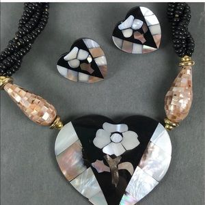 Vintage pink shell Inlay heart necklace earrings